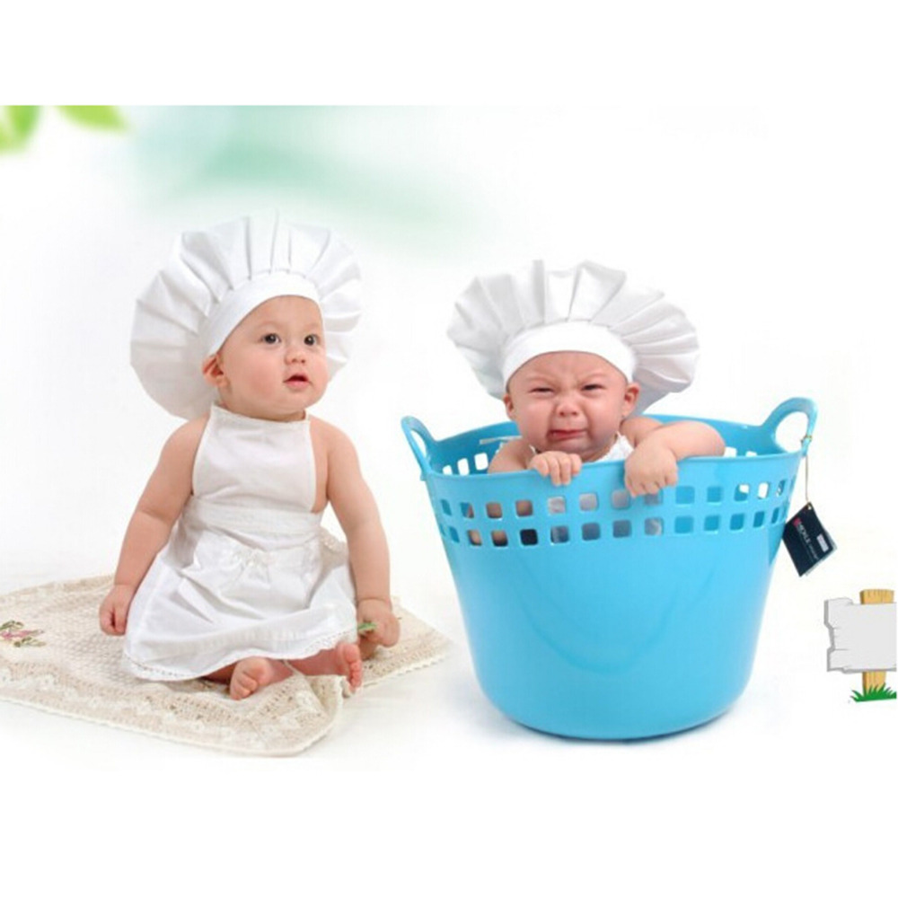 Cute Baby White Cook Costume Photo Photography Prop Newborn Infant Hat Apron Chef Clothes DIY Funning Booth Props for Kids newborn baby photography props infant knit crochet costume peacock photo prop costume headband hat clothes set baby shower gift page 2