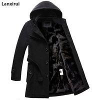 Winter Mens Hooded Wool Coat Men Single Breasted Thicken Velvet Warm Long Overcoat Male Long Woolen trench Jacket 4xl plus size