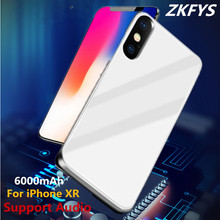 ZKFYS 6000mAh Ultra Thin Tempered Glass Battery Charger Cases For iPhone XR High Quality Fast Power Bank Case