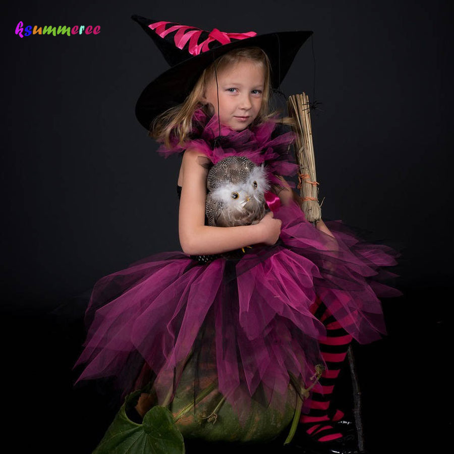 Hot Pink and Black Girls Witch Tutu Dress Children Tutu Halloween Costume Kids Masquerade Carnival Party Clothing Fancy Dress