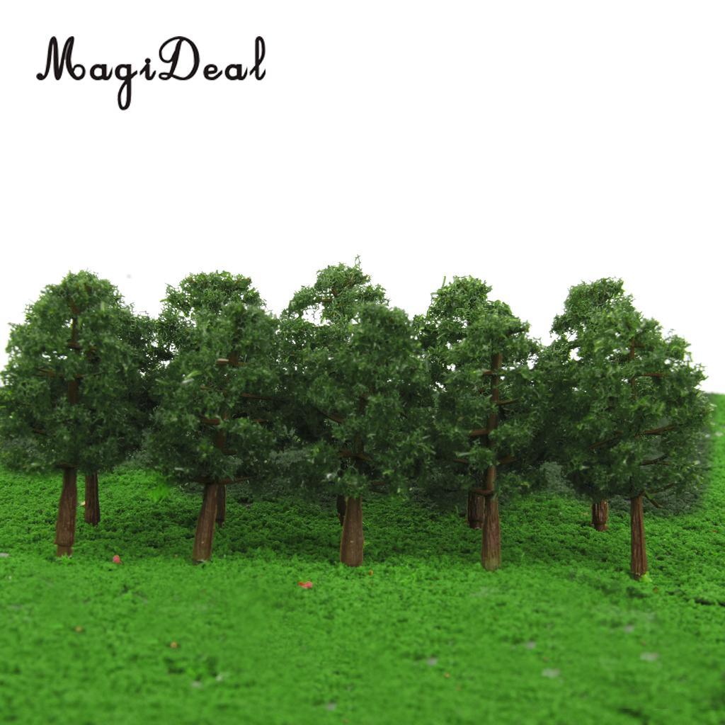 MagiDeal 20Pcs/Lot 1/150 Scale Plastic Model Trees Train Railroad Railway Scenery Landscape for Garden Park Dollhouse Layout