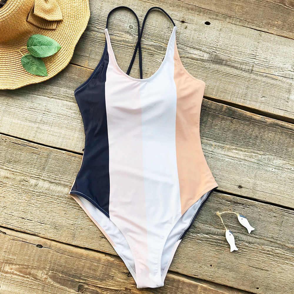 CUPSHE Colorblock Цельный купальник 2019 женский монокини с пуш-апом купальный костюм Купальники