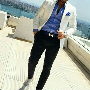 Men Suits Formal Ivory Wedding Suits for Men Groom Tuxedos Black Pants Man Blazer Evening Party Custom Terno Masculino 2 Pieces