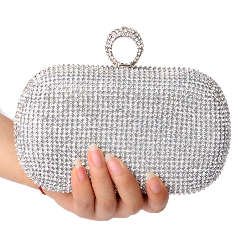 Fashion Finger Ring Diamonds Women Evening Bags Female Rhinestones Lady's Handbags Chain Shoulder Purse/Evening Bag