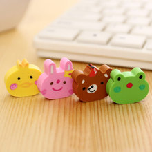 4pcs /cute creative Childrens gift cute cartoon animal head eraser kawaii school supplies papelaria Learning stationery