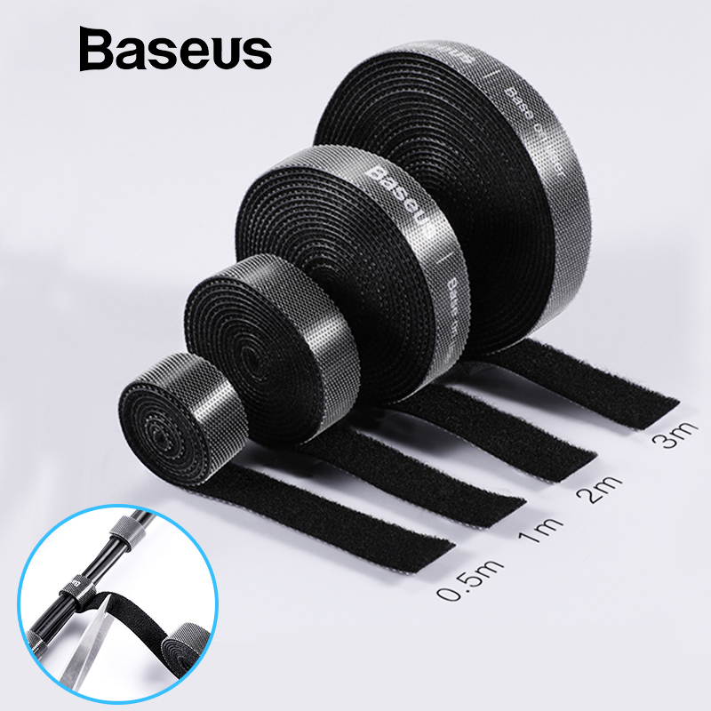 Baseus Cable Organizer Nylon USB Cord Wire Winder Clip HDMI Cable Holder for iPhone iPad Samsung Cable Management Mouse Cord raxfly cable organizer usb cable winder for lightning micro usb type c free length 1 3 5m cable clip office desktop management