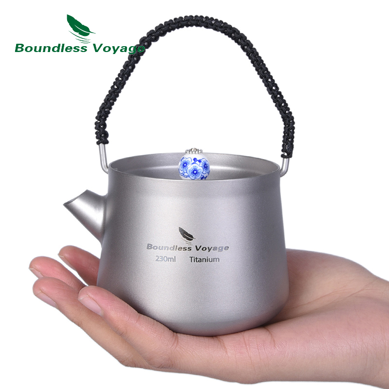 Boundless Voyage Camping 230ml Titanium Mini Kettle with Lid Handle Filter Water Coffee Tea Maker
