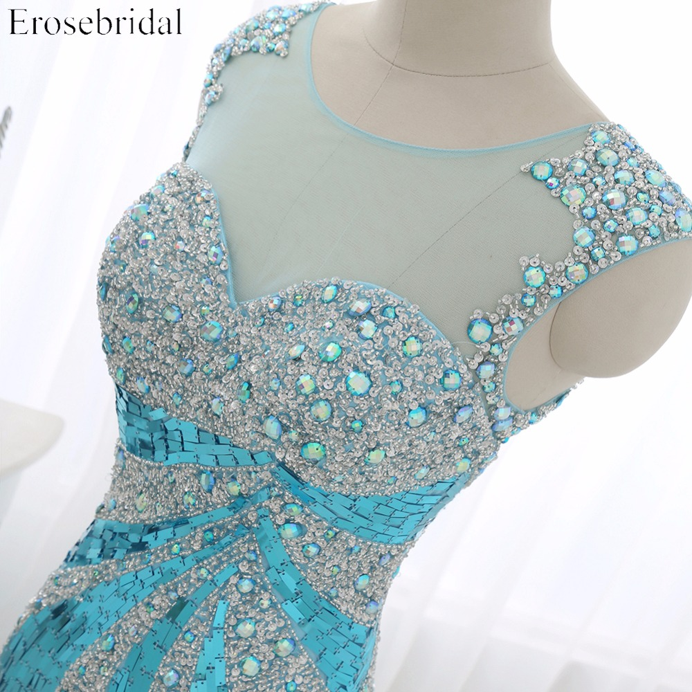 2016 Real Photo Perla Tulle Mermaid Prom Dress Scoop Neck Sequined - Haljina za posebne prigode - Foto 5