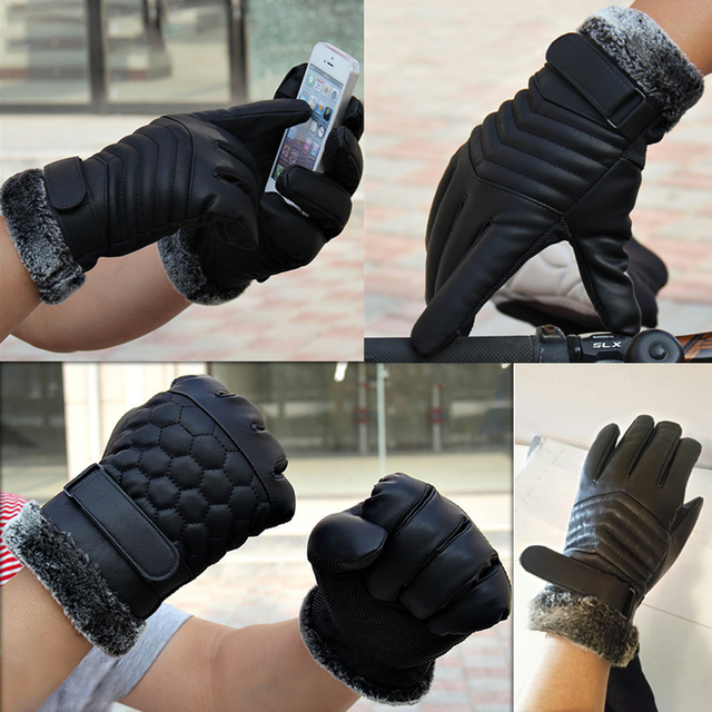 Leather Touch Screen Motorcycle Gloves Full Finger Bike Men Women Winter Protective