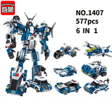 6 In 1 City Police Building Blocks Assembling SWAT Aircraft Car Robot Toy Block  for Childrens gift