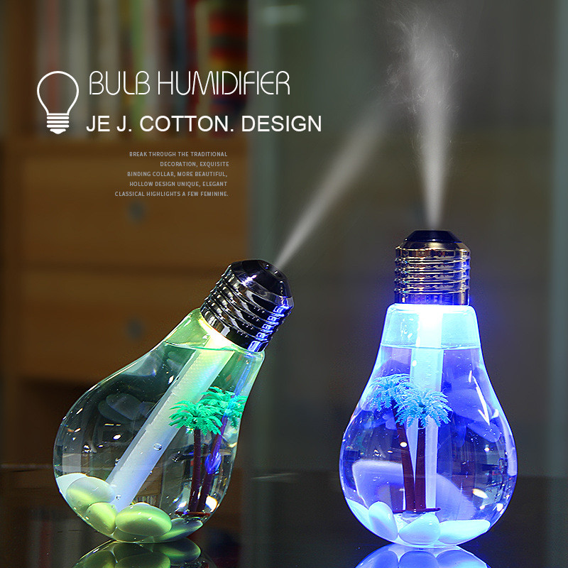 400ml LED Lamp Air Ultrasonic Humidifier for Home Essential Oil Diffuser Atomizer Air Freshener Mist Maker with LED Night Light(China)