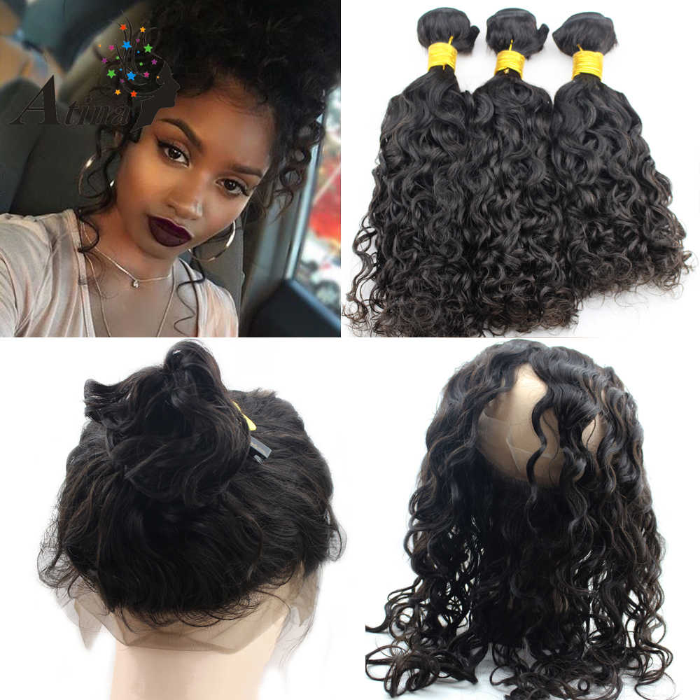 Water Wave Human Hair Weave 360 Lace Frontal With Bundle Virgin Brazilian Hair 360 Lace Band Frontal Closure Pre Plucked Atina