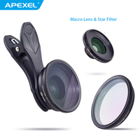 2 in 1 Camera Optic phone lens+25mm 20x super macro lens with star filter mobile photography lente for iPhone Samsung smartphone