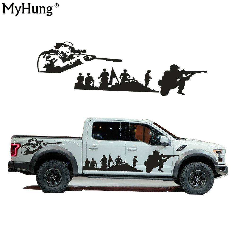 Creative DIY US Army Car Whole Body Sticker Decoration For Hummer Land Rover Pickup Off-Road Vehicle Auto Part 2PCS free shipping 1pc 580mm dirty tire 4wd off road graphic vinyl sticker for 4x4 truck pickup decals badges detailing sticker