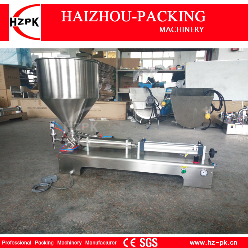 HZPK Semi auto Horizontal Single Head Past Filler Liquid Filling Machine For Food Processor Small Industrial Packer G1WGD1000