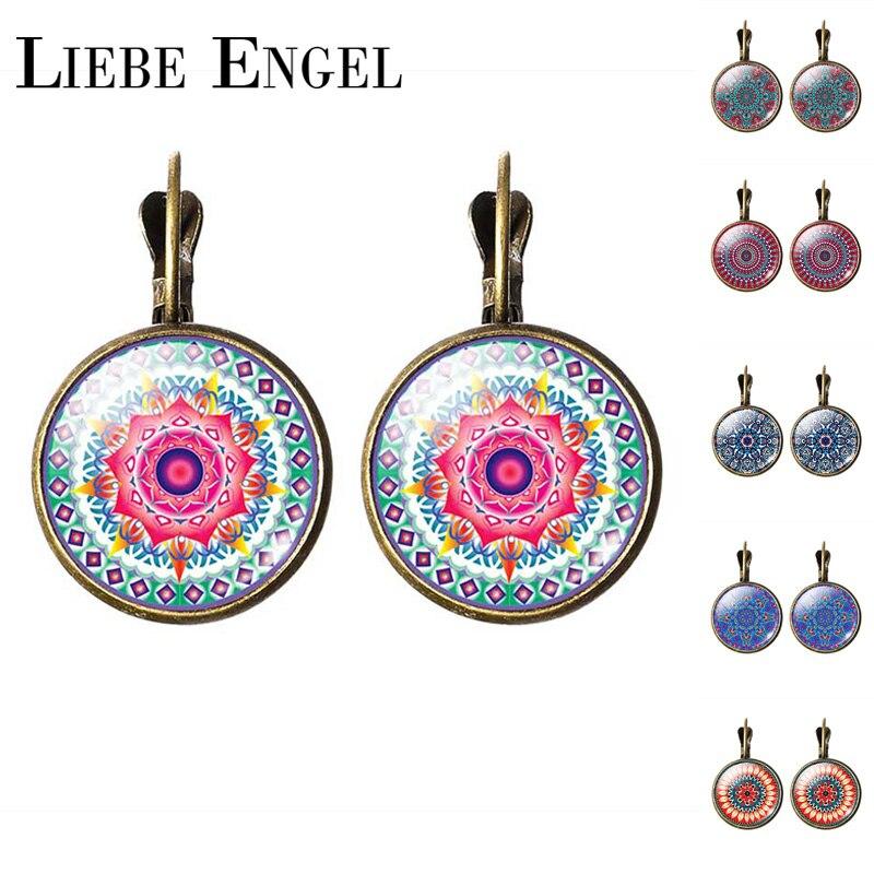 LIEBE ENGEL NEW Arrival Mandala Stud Earrings OM Symbol Buddhism Zen Retro Jewelry Fashion Earrings Women Online Shopping India