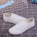 Novo 2017 moda zapatos mujer senhoras lace-up sapatos de lona mulheres sapatos casuais amantes concise apartamentos pequenos sapatos brancos das mulheres