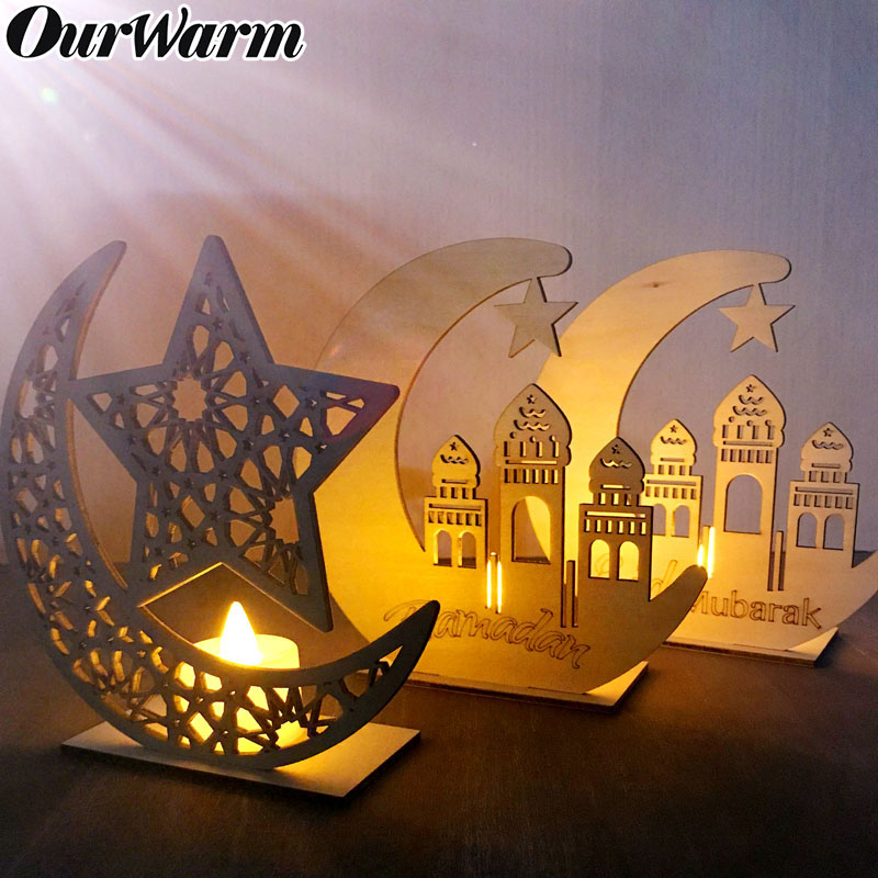 OurWarm Wooden Eid Mubarak Ramadan Decoration Muslim Islam Moon Star Wood Plaque Hanging Pendants Home Decor Party Supplies