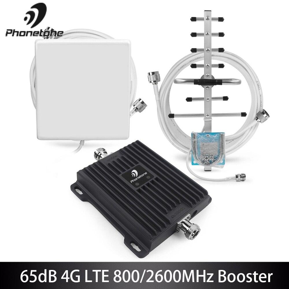 65dB B20 800 МГц B7 2600 МГц 4G усилитель сигнала Сотовая связь усилитель 4 аппарат не привязан к оператору сотовой связи усилитель мобильный усилите