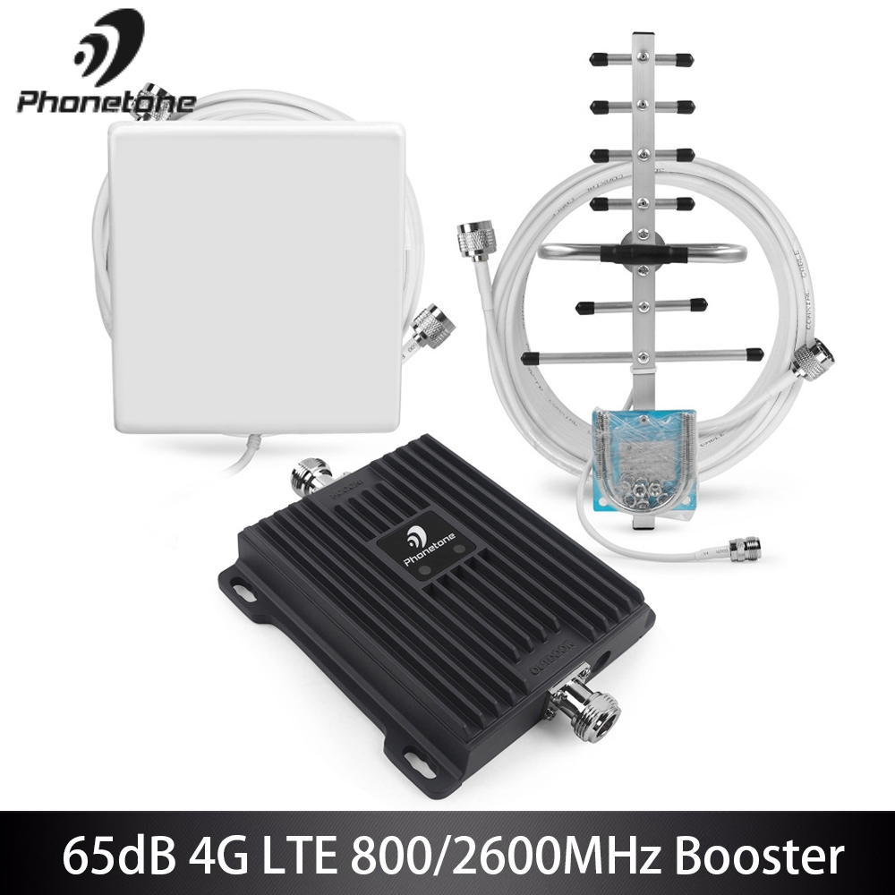 65dB B20 800 MHz B7 2600 MHz 4G Signal Booster Amplificatore Cellulare 4G LTE Amplificatore di Rete Mobile Booster cellulare Ripetitore Amplificatore