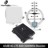 65dB B20 800MHz B7 2600MHz 4G Signal Booster Cellular Amplifier 4G LTE Amplifier Mobile Network Booster Cell Repeater Amplifier