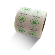 1 1000 PCs/roll Warning Stickers Adhesive LabelCONTAINS THC Labels Square Paper for and Indication