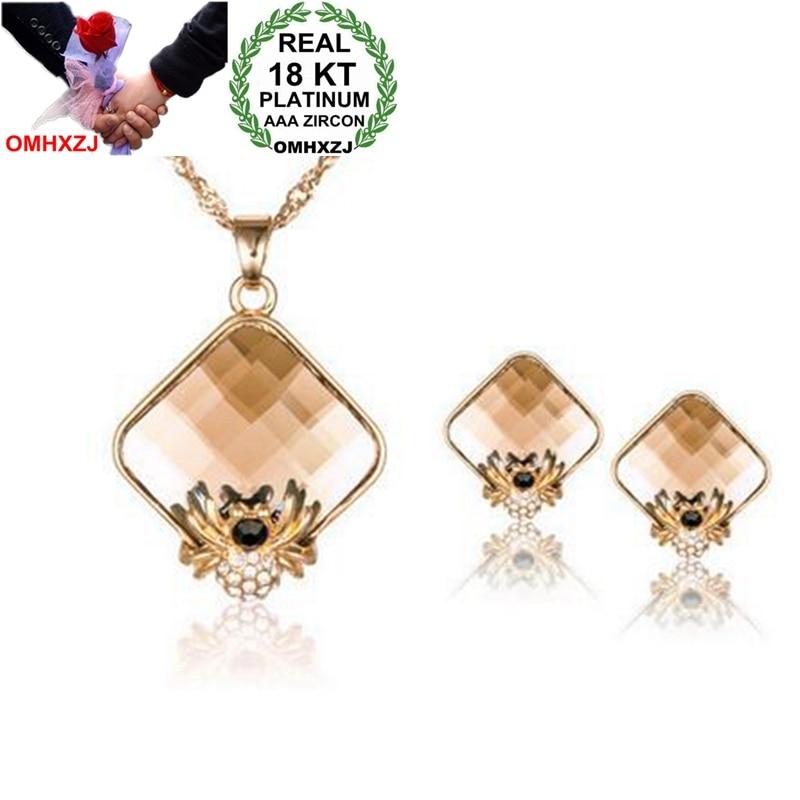2019 Neuer Stil Omhxzj Großhandel Aaa Zirkon Kristall Gold 18kt Platin Frau Wilden Sterne Mode Braut Spinne Halskette Ohrringe Schmuck Sets St149