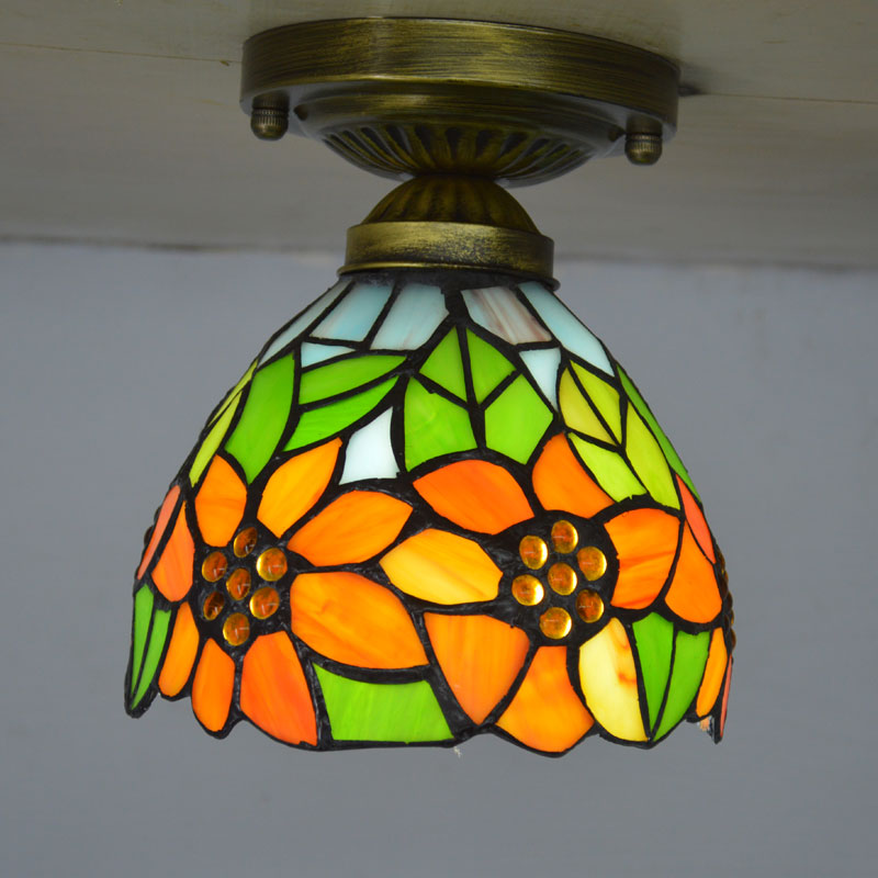 Tiffany Small Ceiling Light Stained Glass Lampshade Country Sunflower Kitchen Lighting E27 110 240V in Ceiling Lights from Lights Lighting