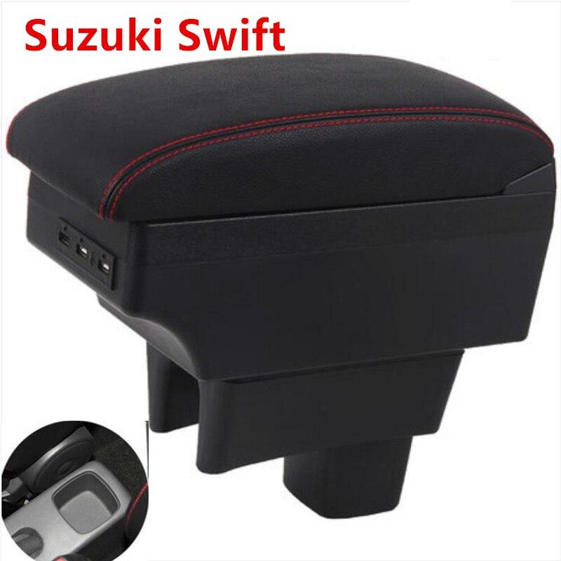 Otomobiller ve Motosikletler'ten Kol Dayanağı'de Suzuki Swift için kol dayama kutusu evrensel araba merkezi konsol modifikasyon aksesuarları çift yükseltilmiş USB 2005 2020 title=