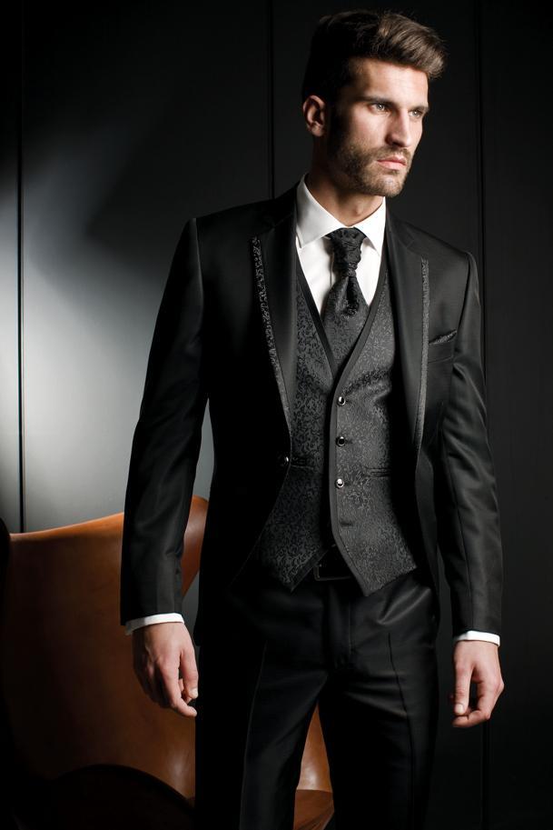 2019 nueva llegada novio esmoquin negro padrino solapa muesca de la boda/cena trajes mejor hombre novio
