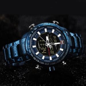Image 4 - NAVIFORCE Watches Men Full Steel Quartz Digital Clock Waterproof Watch Mens Fashion Blue Watch Relogio Masculino Dropshipping