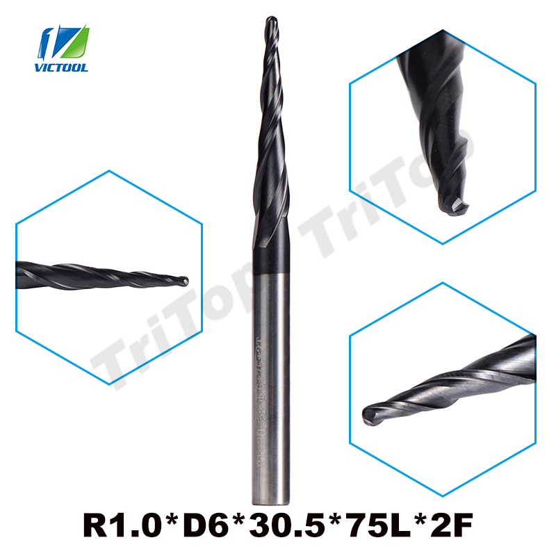 2pcs/lot R1.0*D6*30.5*75L*2F Solid Carbide Coated Ball Nose Cone Type Tapered End Mills Cnc Milling Cutter