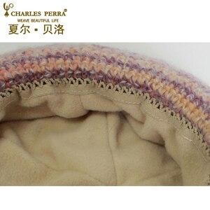 Image 5 - Charles perra chapéus femininos inverno engrossar dupla camada térmica chapéu de malha artesanal elegante senhora casual gorros de lã 3538