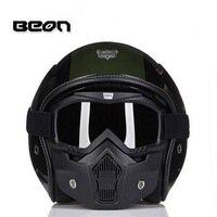 2017 Fashion BEON retro Harley design motorcycle helmet half face Military helmets for locomotive Composite four seasons of FRP