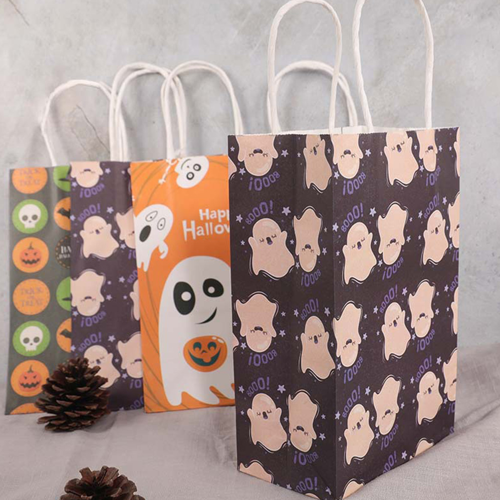10pcs Ghost Pattern Halloween Candy Bag Paper Gift Bag With Handle For Halloween Party Shop Store Gift Package Wrapping Supplies