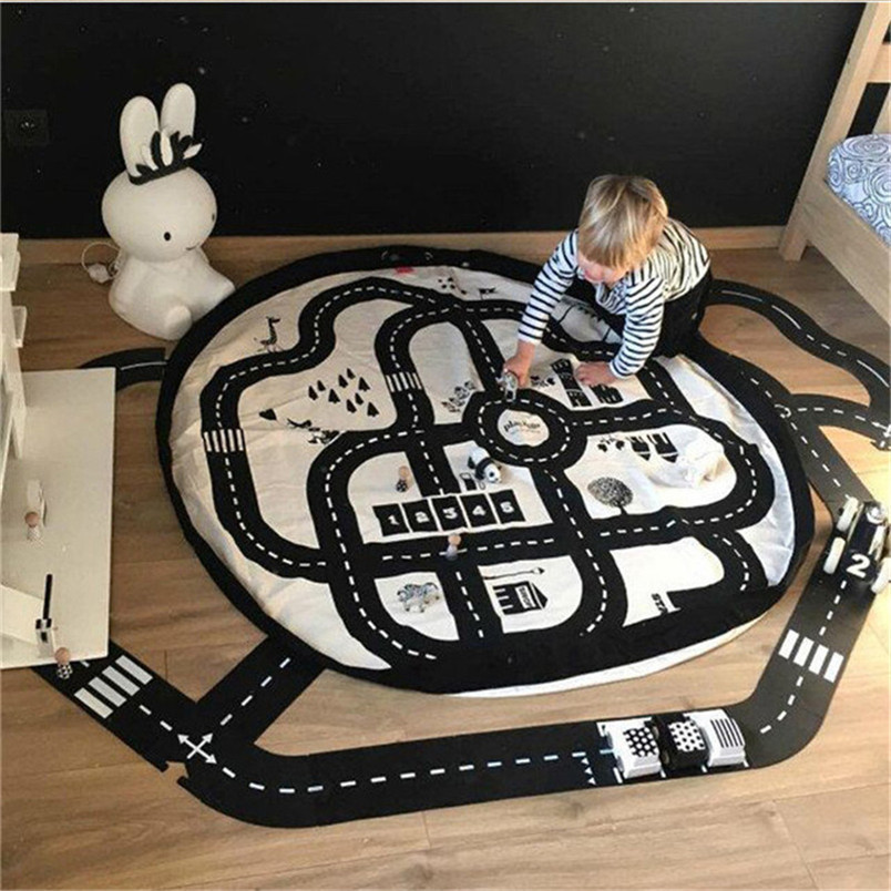 Abbyfrank 140cm Play Mat Baby Canvas Crawling Mat Play Game Toys At Home For Child Baby
