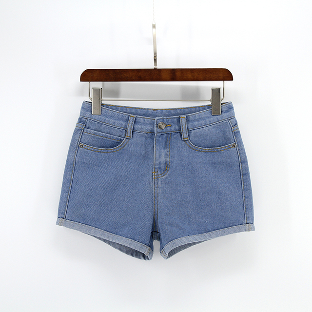 Blue Crimping Denim Jeans Shorts For Women 62