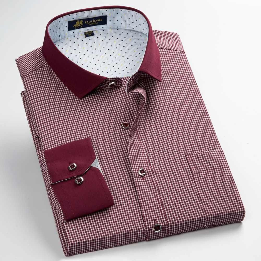 PaulJones 57xx ファッション長袖襟デザイナーメンズフォーマルシャツ品質ピンチェックソーシャルシャツ男性カジュアルチェック柄の服