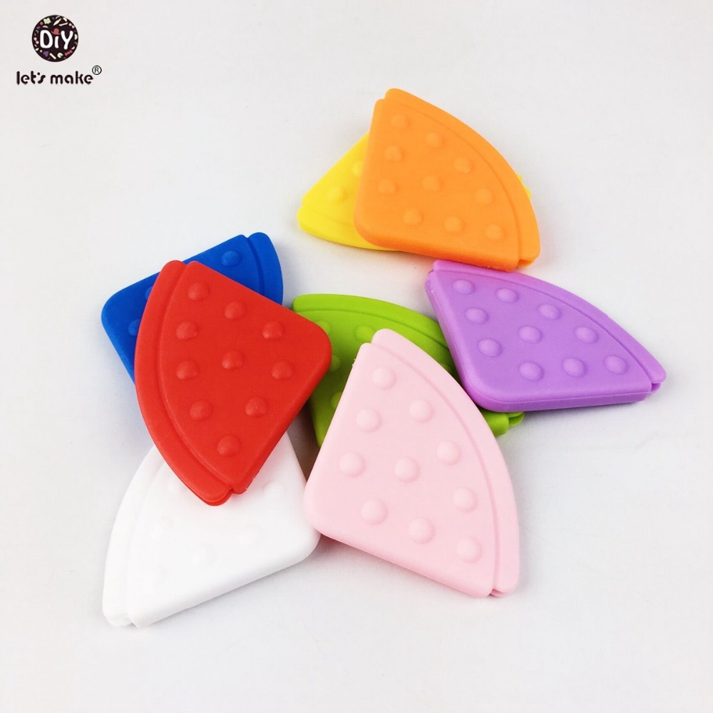 Let's Make EVA Pendant Teether Bibs Baby Teether(50pc) Safe And Natural BPA Free EVA Teether Solid Color Baby Corner