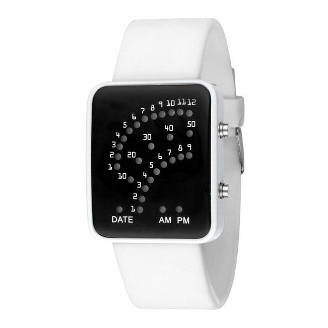Women Men LED Electronic Wrist Watch Sector Binary Digital Fashion Unisex Couple Watches Black White TT@88