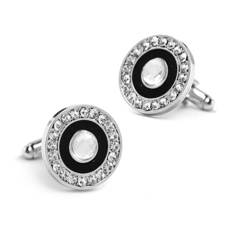 2017 new round crystal rhinestone enamel round cufflinks shirt crystal cufflinks shirt button Wedding Accessories Both Accessor