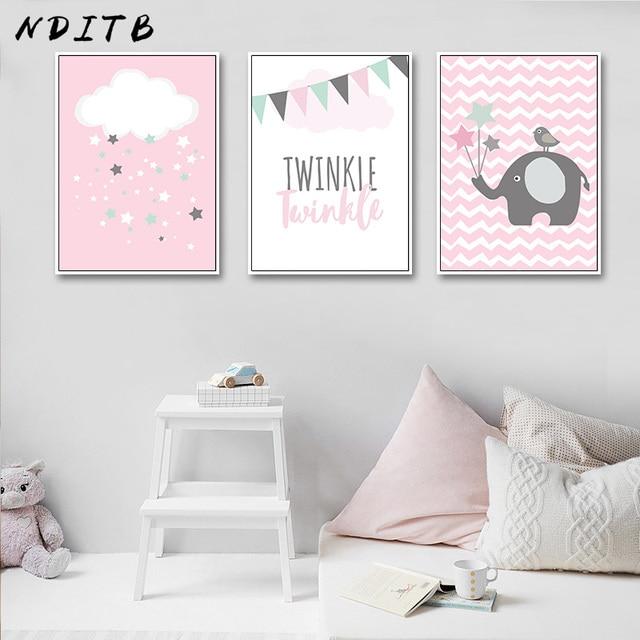 Nditb Pink Cloud Elephant Canvas Art Posters Nursery Prints Cartoon Minimalist Painting Nordic Boys S Bedroom