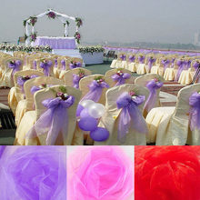 10M/lot 48cm Wide Sheer Crystal Organza tulle roll Fabric For Wedding Party Decoration Organza Chair Sashes New Year Supplies(China)