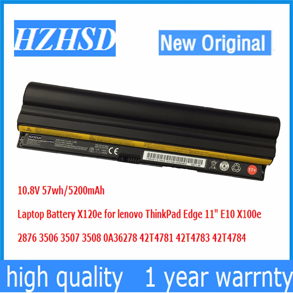 10.8V 57Wh 6CELL Original New Laptop Battery for Lenovo Thinkpad Edge 11 X100e X120e 42T4785 42T4787 42T4788 42T4781