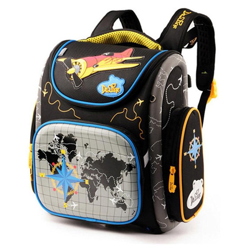 Delune Factory Car Pattern School Bags For Boy Girls Cartoon Backpacks Children Orthopedic Backpack Waterproof Mochila Infantil