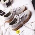 Envío gratis 2017 primavera nuevas mujeres zapatos de los planos ocasionales deporte transpirable PU zapatos de plataforma blancos zapatos de mujer de marca casual
