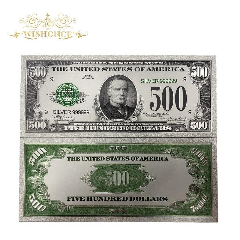 10 adet/grup yeni ürünler için renkli 1918's amerika banknotlar 500 dolar altın banknot 24k gümüş kaplama olarak fatura para hediyeler