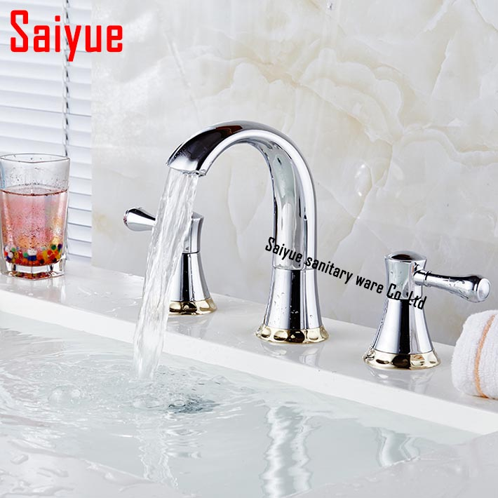 Deck Mount 3 Hole Bathroom sink Faucet Waterfall Spout Filler Bathtub Faucet Chrome Finish water tap with dual handle china sanitary ware chrome wall mount thermostatic water tap water saver thermostatic shower faucet