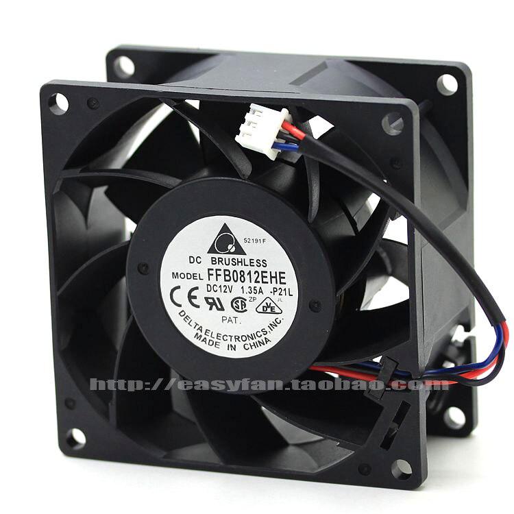 Delta FFB0812EHE P21L DC 12V 1.35A 80x80x38mm Server Square fan