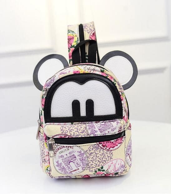 Fashion sweet girl chest bag women bag Mickey casual canvas bag with a small backpack 23 kinds of multi-pattern options